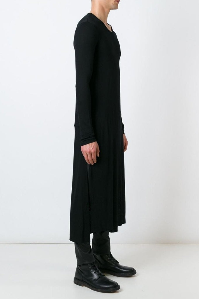 UNCONDITIONAL Black elongated long sleeved tail T-shirt with side splits