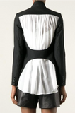 UNCONDITIONAL Black jacket with ivory silk georgette contrasts & open back