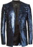 UNCONDITIONAL SS16 matt blue angled cutaway fully sequinned jacket