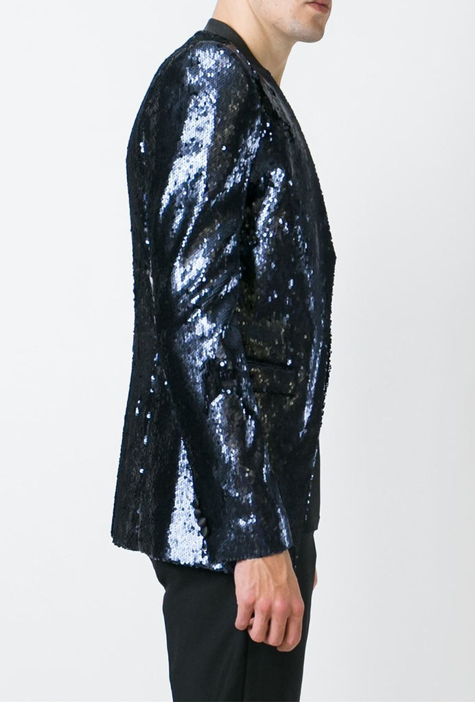 UNCONDITIONAL SS19 Old Gold | Black comb-able sequin cutaway jacket