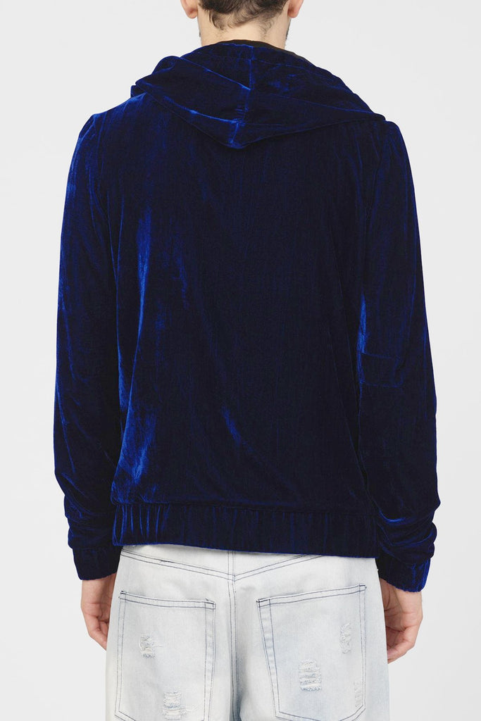 UNCONDITIONAL AW18 Blue silk velvet zip up hoodie, fully silk lined