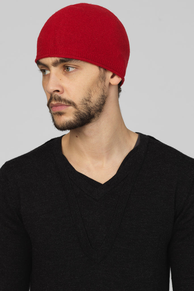 UNCONDITIONAL red boiled merino wool skull cap beanie BWCAP29