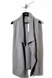 UNCONDITIONAL Silver grey boiled merino drape front blanket gilet
