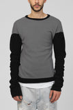 UNCONDITIONAL Dark Grey and Black cashmere colour blocked curved sleeved jumper