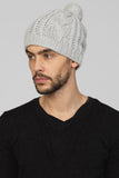 UNCONDITIONAL Flannel Cashmere handknitted cable hat with pompom