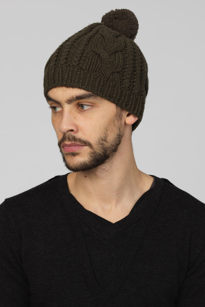 UNCONDITIONAL Deep Army Cashmere handknitted cable hat with pompom