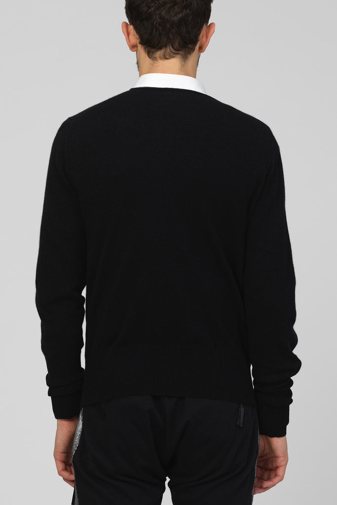 UNCONDITIONAL Black V-neck cashmere sweater with a black hand beaded shard
