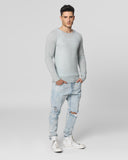 UNCONDITIONAL SS18 signature bleached denim loose knit crew neck jumper with back hem rib.