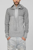 UNCONDITIONAL Grey striped hooded cashmere plunge front jumper with top shadow stripes