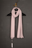 UNCONDITIONAL Powder pink Grade A cashmere large flat and rib knit scarf.