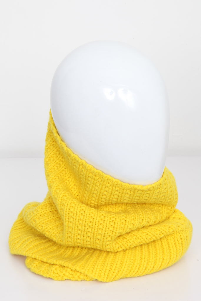 UNCONDITIONAL ACID YELLOW HEAVY KNIT CASHMERE DOUBLE FUNNEL NECK
