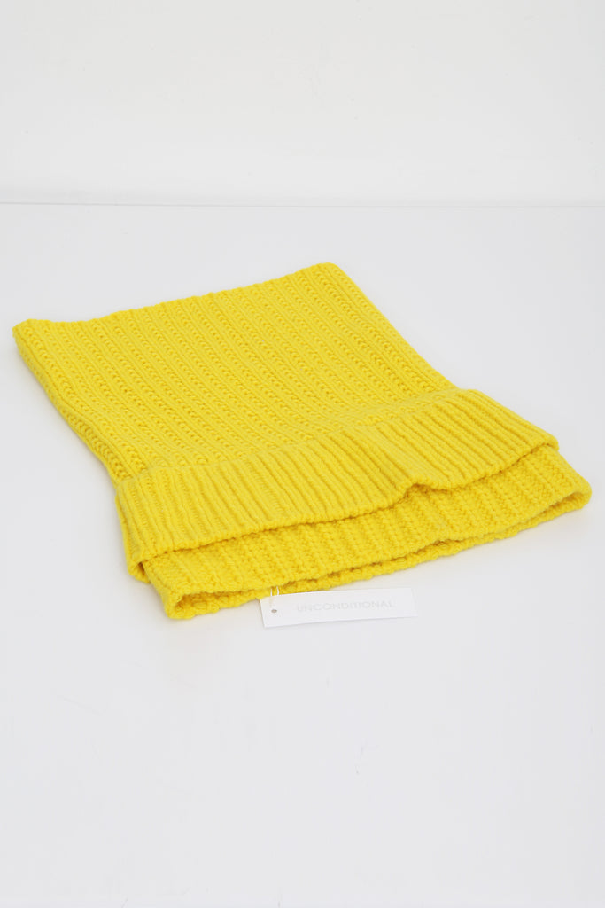 UNCONDITIONAL AW17 ACID YELLOW HEAVY KNIT CASHMERE DOUBLE FUNNEL NECK