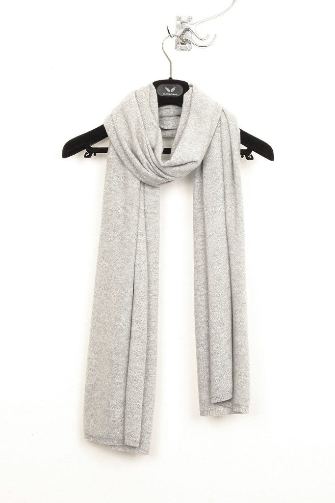 UNCONDITIONAL Large Flannel Grey Grade A cashmere flat and rib Nunu scarf.