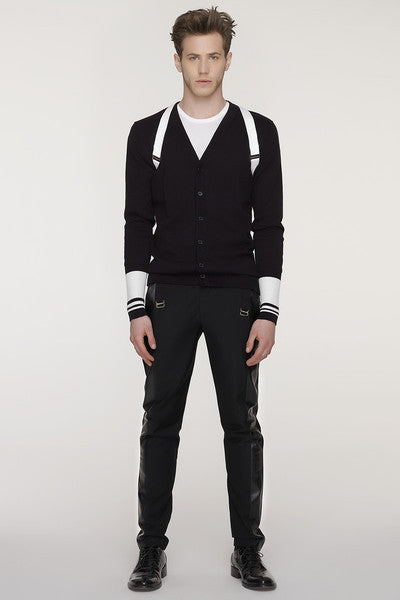 UNCONDITIONAL All Black cotton cardigan with detachable harness.