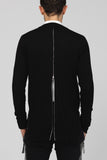 UNCONDITIONAL SS19 black long cotton zip tail back cardigan