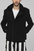 UNCONDITIONAL BLACK ZIP UP COAT WITH CALFSKIN CONTRASTS