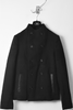 UNCONDITIONAL Black Pure wool funnel neck pea coat