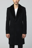 unconditional mens black cashmere blend mink collar coat cot609mi