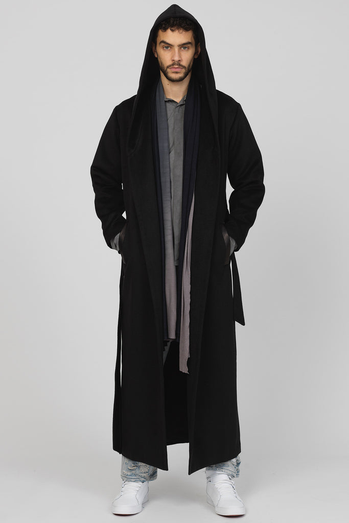 ce47557e4 UNCONDITIONAL Black Monastic Hooded Long Coat, leather faced belt