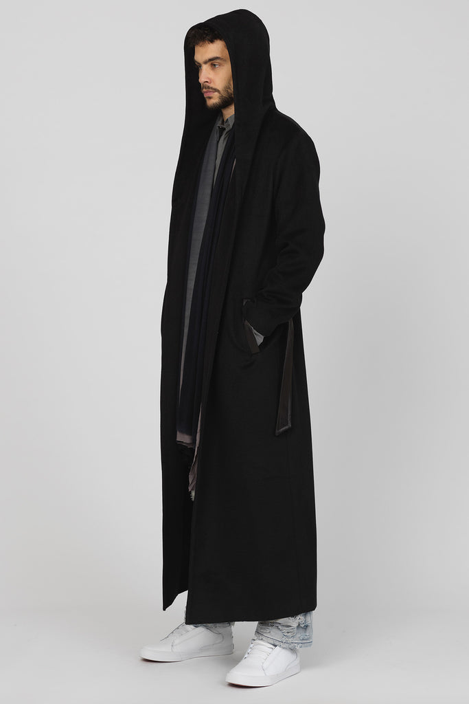 bbddd5074 UNCONDITIONAL Black Monastic Hooded Long Coat, leather faced belt