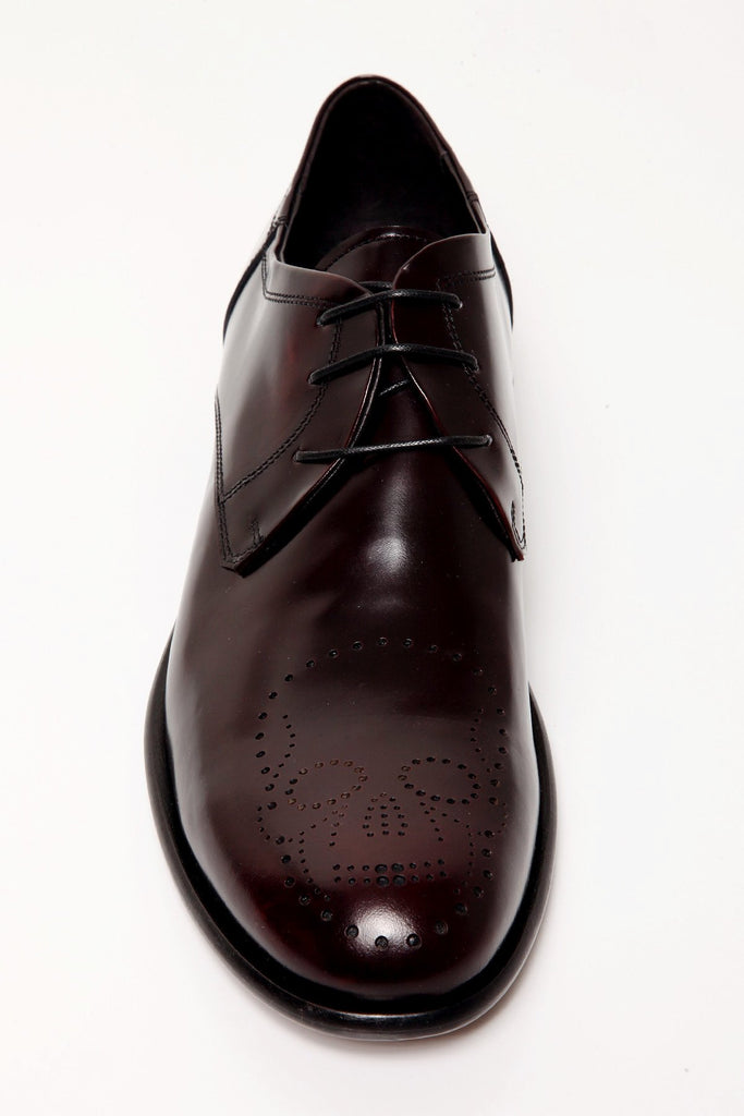 UNCONDITIONAL new burgundy cordovan leather lace-up shoe with skull broguing detail
