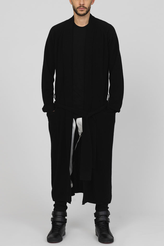"UNCONDITIONAL AW16 black full length mens cashmere ""dressing gown"" cardigan."