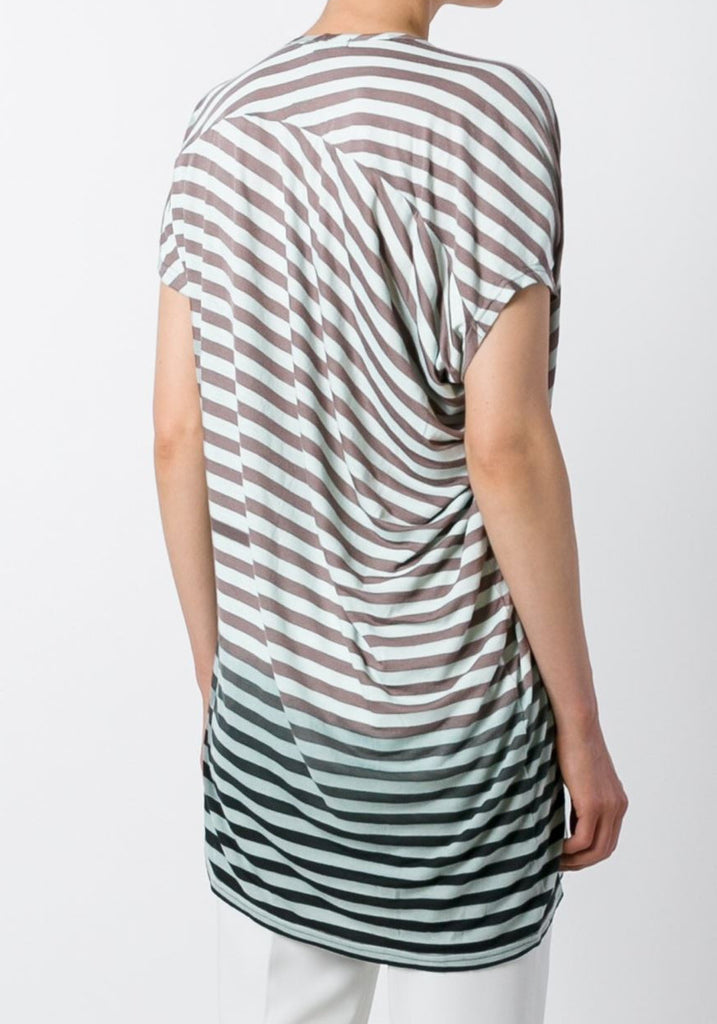 UNCONDITIONAL'S signature duck egg and mocha stripes asymmetric drape V - neck T-shirt.