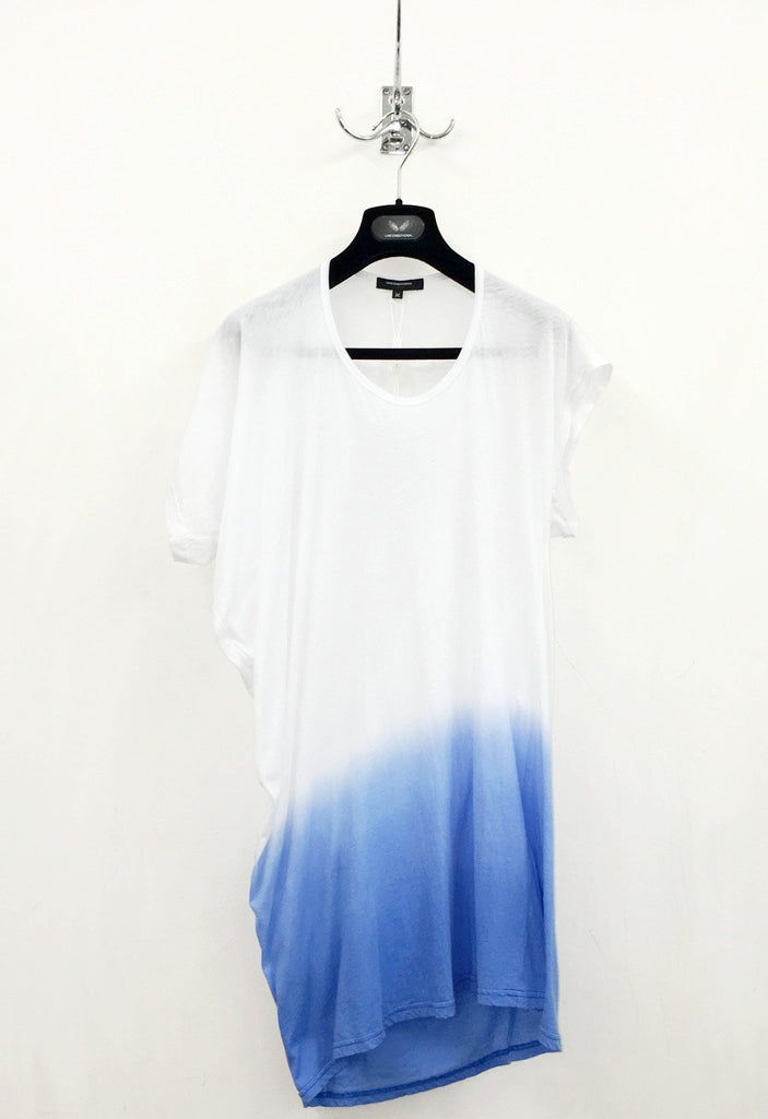 UNCONDITIONAL SS18 white asymmetric drape T-shirt with blue dip dye.