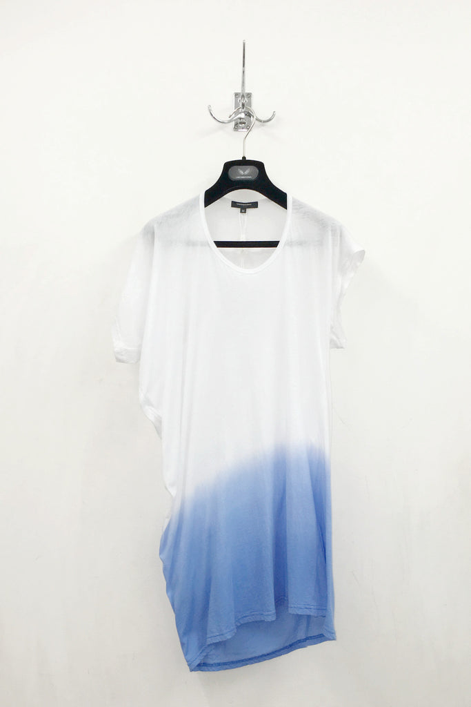 UNCONDITIONAL'S signature white with blue dip dyed fine jersey asymmetric drape T-shirt.