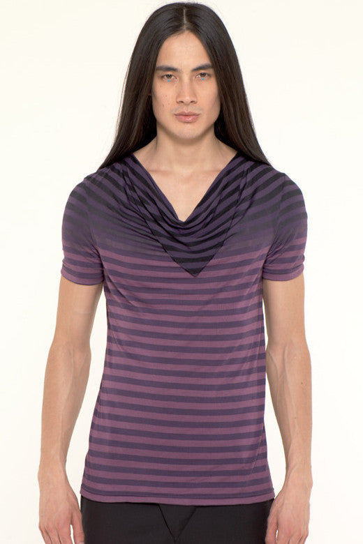 UNCONDITIONAL white striped drape neckerchief T-shirt with its top dip dyed in black