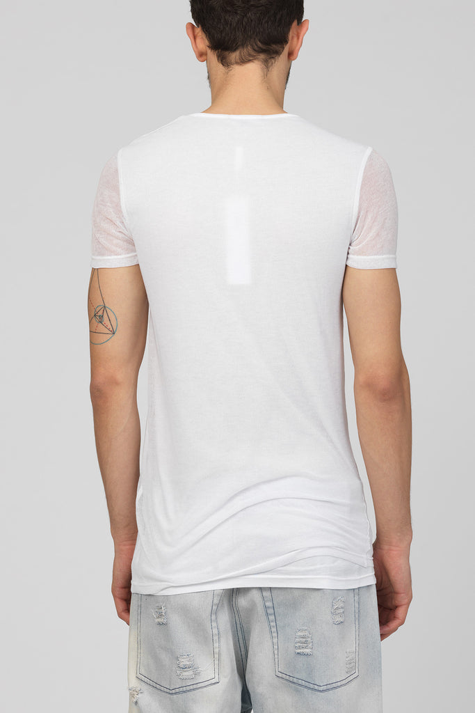 UNCONDITIONAL SS18 All white layered mesh short sleeved crew neck T-shirt