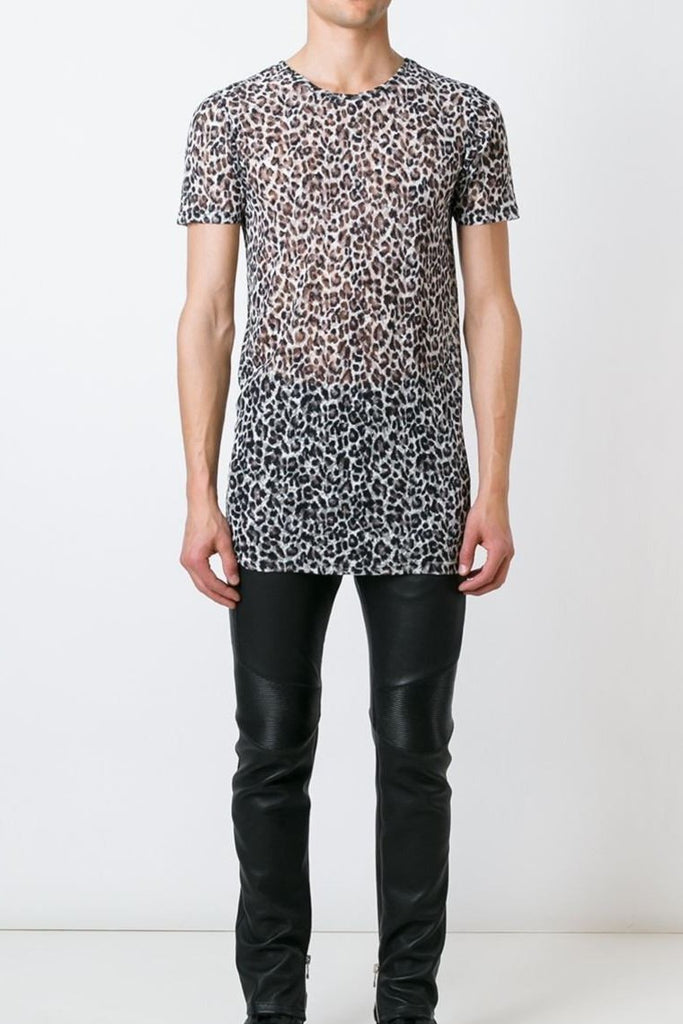 UNCONDITIONAL AW17 leopard print mesh crew neck t-shirt