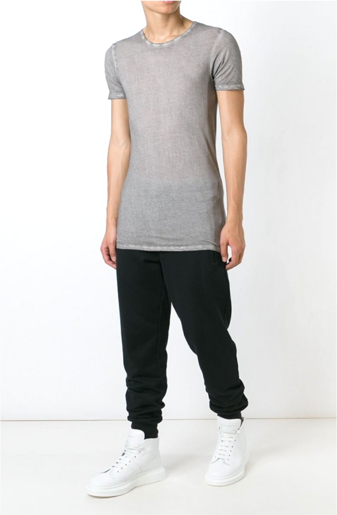 UNCONDITIONAL Stone signature slim fit crew neck T with external centre back seam.