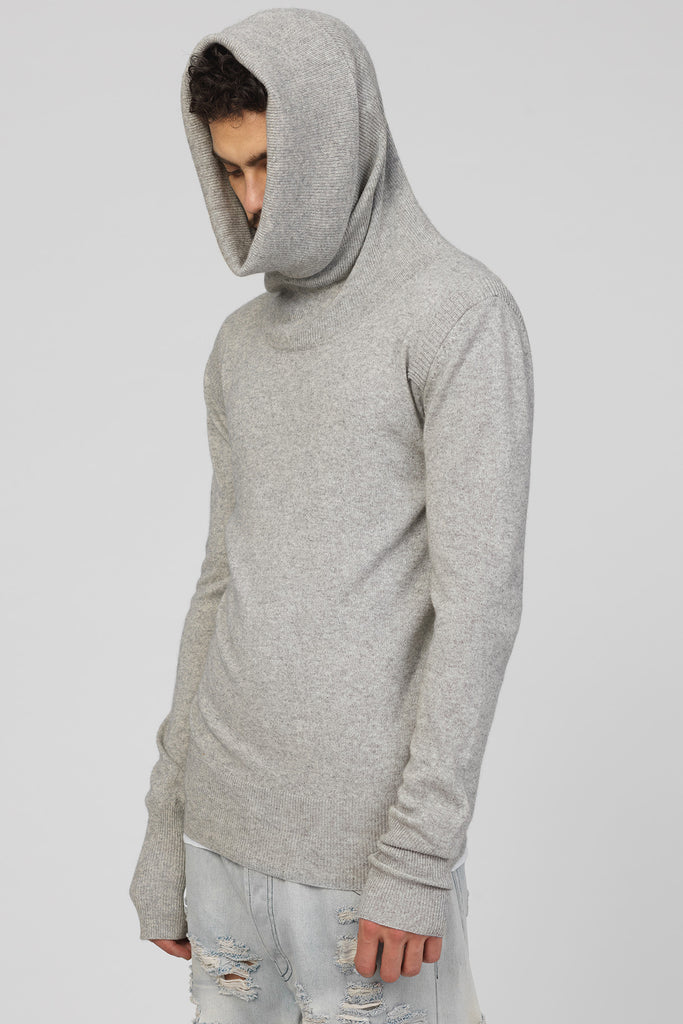 UNCONDITIONAL Flannel Grey extreme funnel neck sweater knitted in silk cashmere.