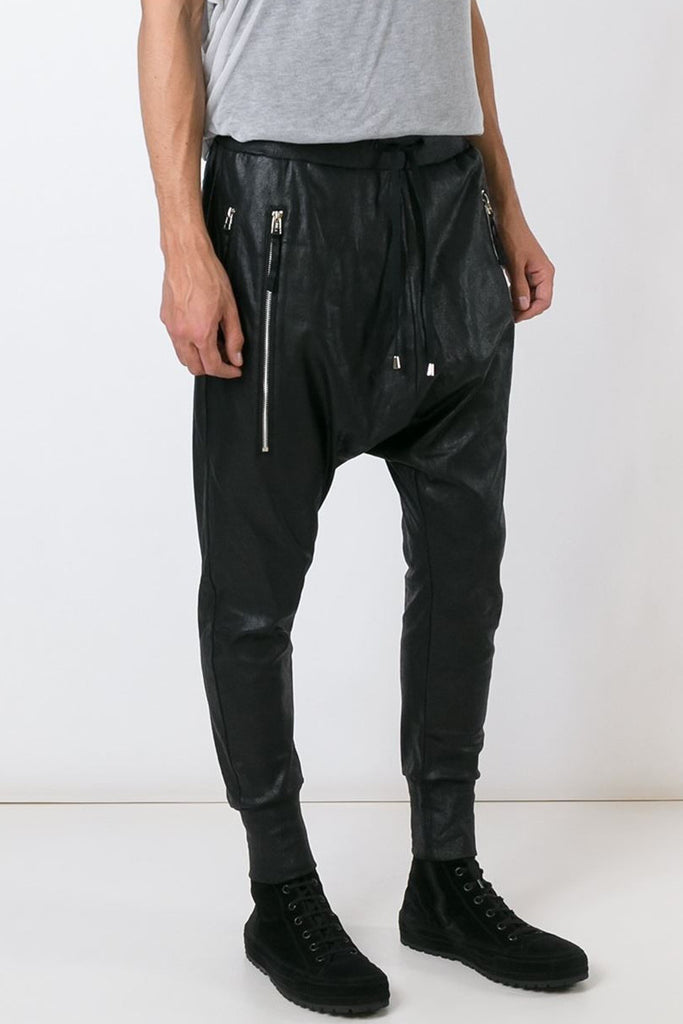 UNCONDITIONAL leather look drop crotch joggers - foiled jersey trousers with double zip pockets - code :  HC2P-FOIL
