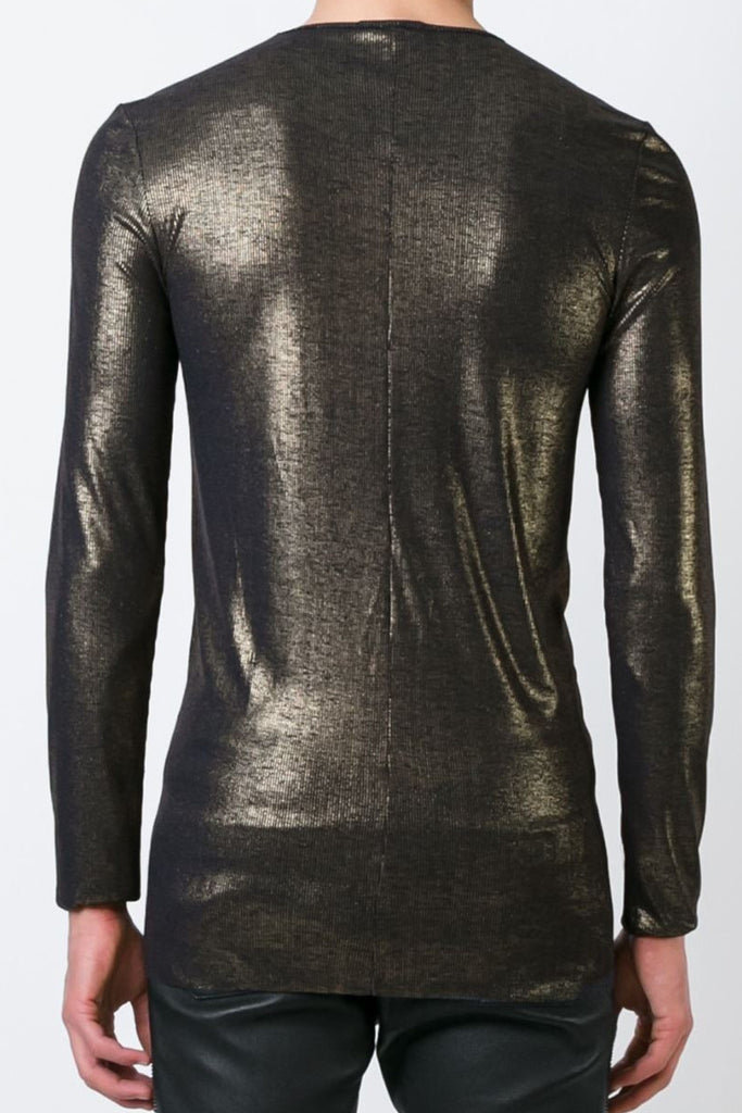 UNCONDITIONAL Long sleeved dark navy with dark and gold foiled Japanese rayon rib T-shirt