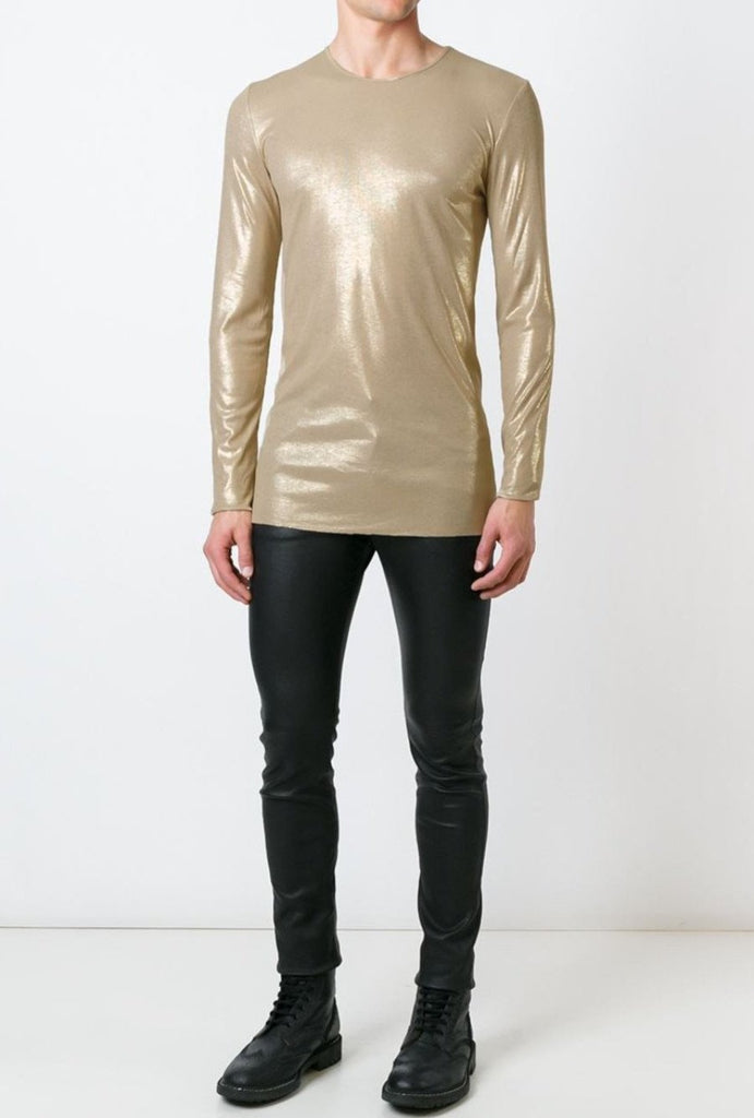 UNCONDITIONAL long sleeved Japanese rayon rib crew neck T-shirt in stone with gold foiling