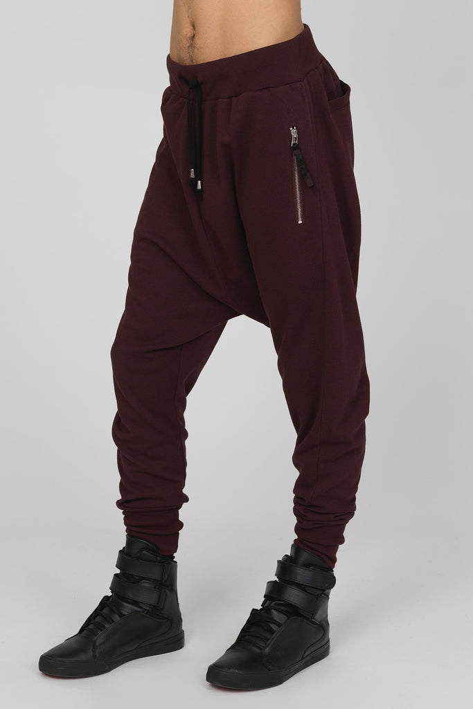 UNCONDITIONAL burgundy drop crotch full length jersey trouser.