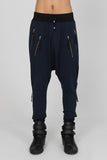UNCONDITIONAL SS20 DARK NAVY / BLACK DROP CROTCH SIDE-ZIP-HAREM TROUSERS