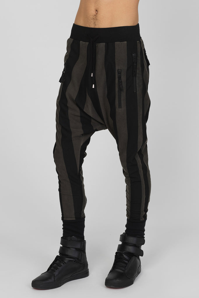 UNCONDITIONAL SS17 Black and military cold dye drop crotch trousers , black back zips & double zip pockets.