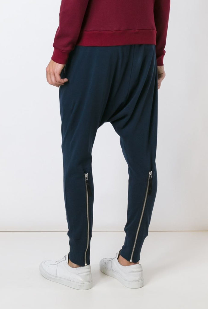 UNCONDITIONAL Petrol full length  jersey joggers trousers with signature back zips.