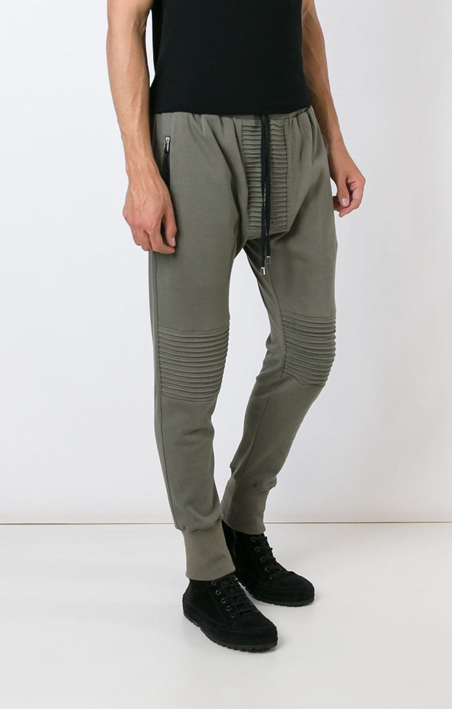 UNCONDITIONAL AW16 Army slim heavy cotton jersey trouser with new knee and crotch piping details