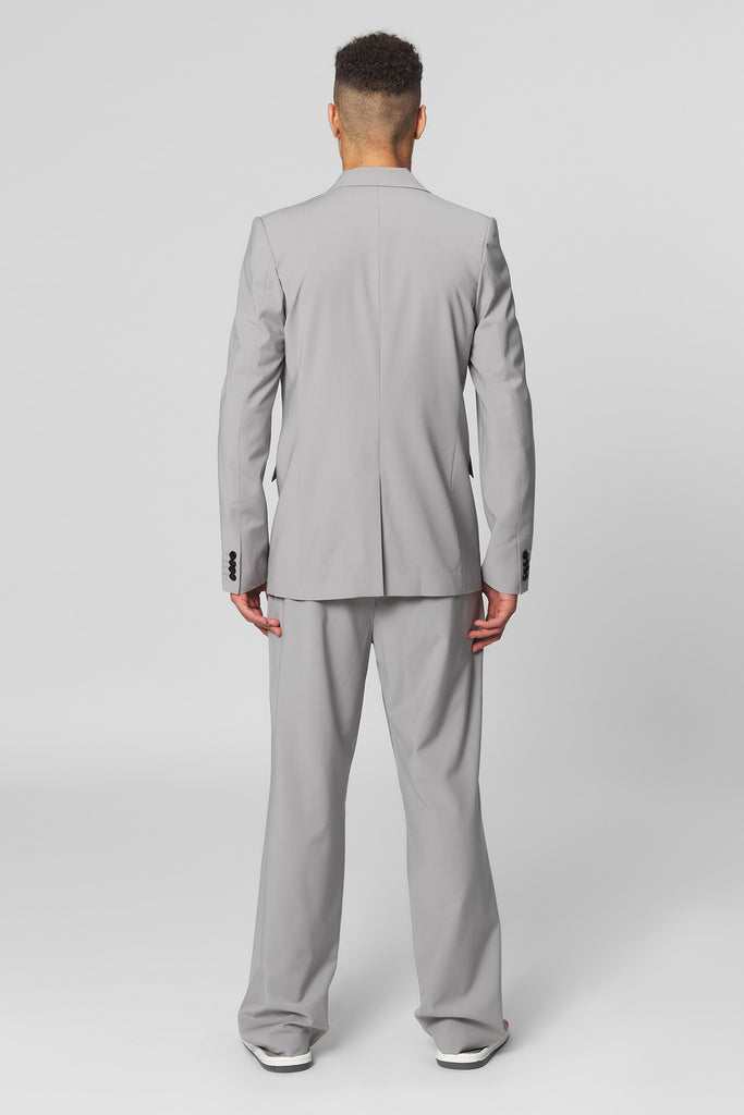 UNCONDITIONAL Silver  grey pure summer wool signature cutaway jacket.