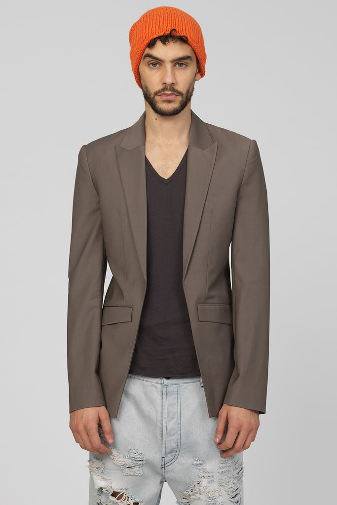 UNCONDITIONAL SS19 Taupe summer wool relaxed signature cutaway jacket.