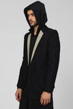 UNCONDITIONAL Black Wool boxy tailored jacket with leopard inset lapels