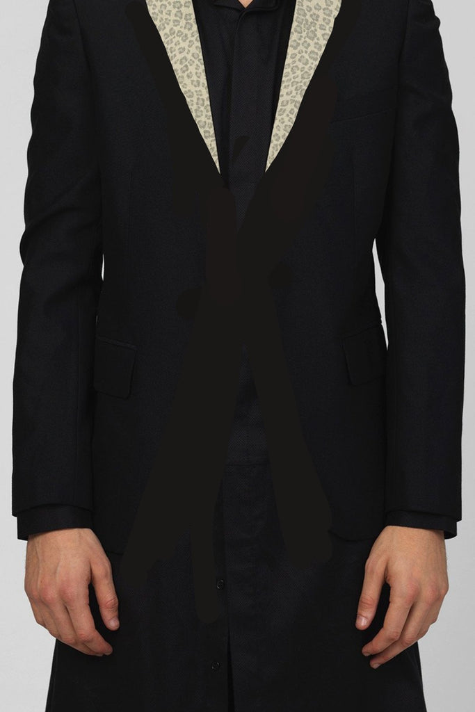 UNCONDITIONAL Black CUTAWAY jacket with leopard lapels