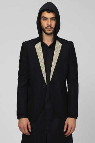 UNCONDITIONAL brown and black jacquard tailored wide lapel one button tuxedo