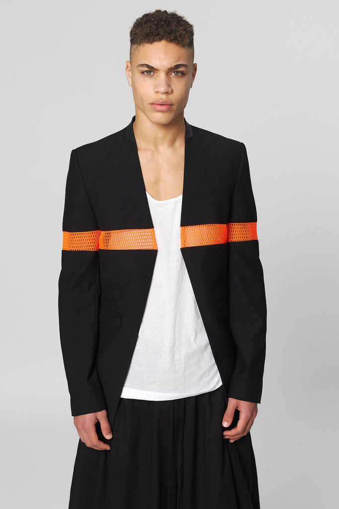 UNCONDITIONAL Black and orange mesh 'line of beauty' jacket