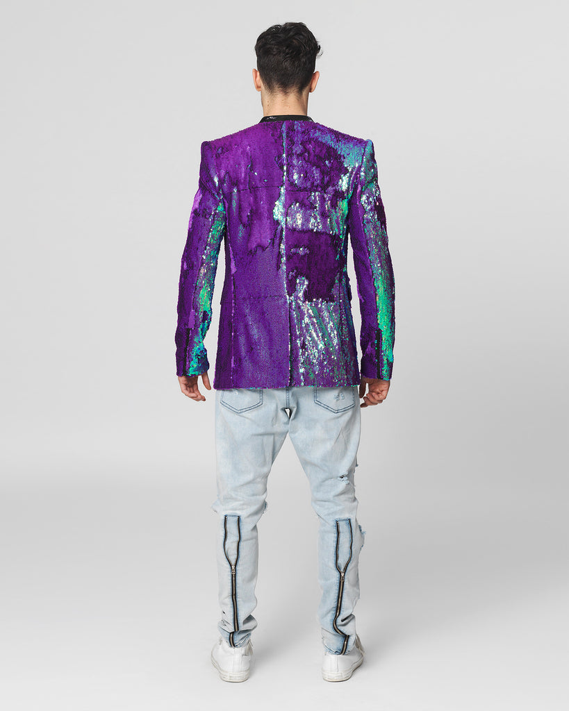 UNCONDITIONAL Irridescent purple angled cutaway sequinned jacket