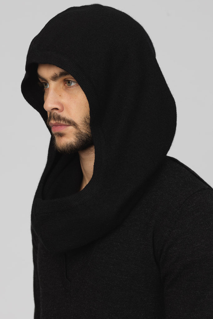 UNCONDITIONAL AW19 signature snood in soft black boiled merino wool